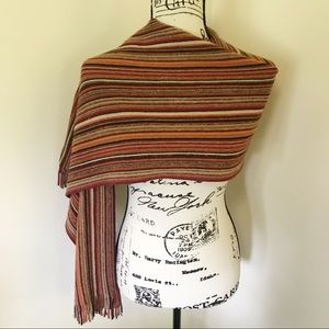 Coldwater Creek Striped Autumnal Color Scarf Shawl